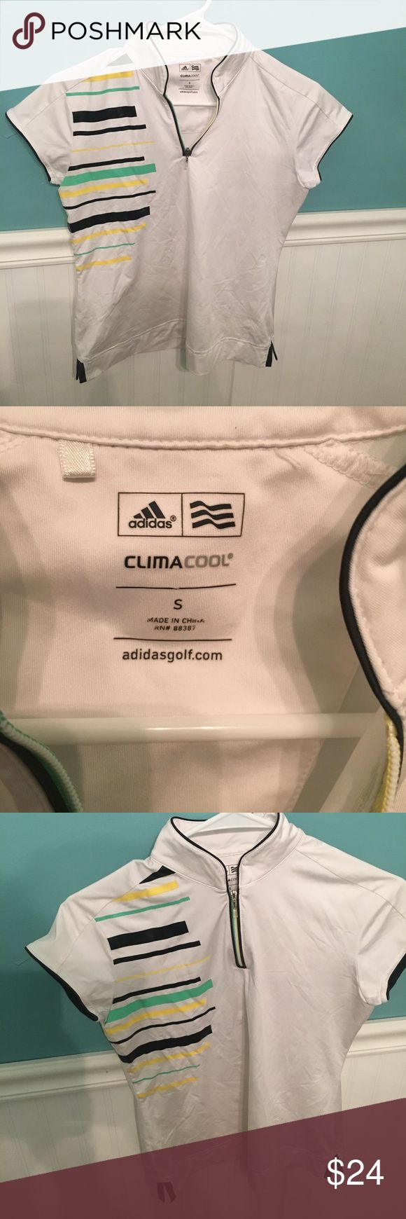 Adidas Clima Cool Golf Shirt White Adidas Clima Cool golf shirt. Size small. Zip front with yellow, green, and black shoulder stripes. In excellent condition. Adidas ClimaCool Tops