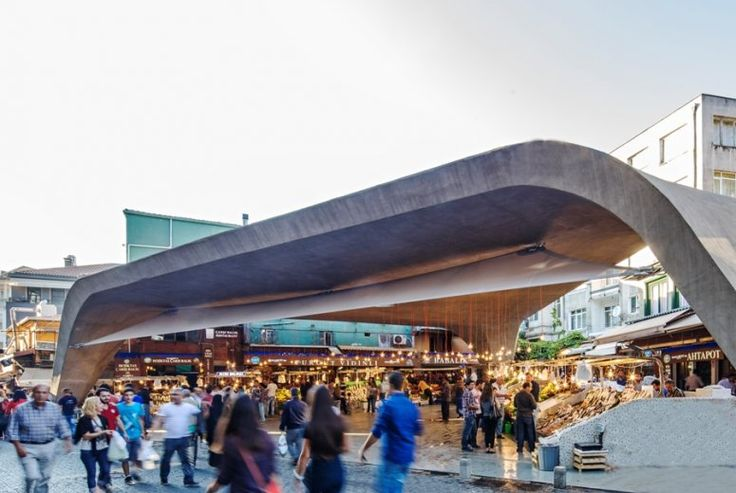 The Besiktas Fish Market is located on a triangular site. It is an iconic venue where many locals and visitors buy fresh fish daily. The construction of the old fish market was in very poor shape and needed to be replaced. #gad #architecture #gokhan #avcioglu #market #design #form #concrete #dramatic #design #architectural #istanbul #besiktas #turkey #turkiye #pazar #fish #balık #avcıoglu