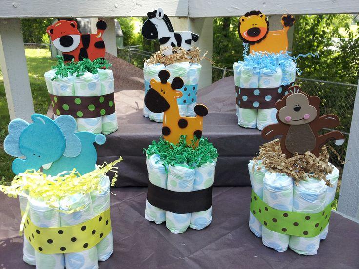 1 Jungle Theme Mini Diaper Cake, Baby Shower Centerpiece. $6.75, Via Etsy.