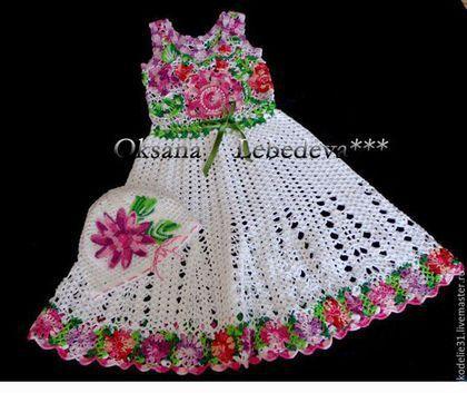 Одежда для девочек, ручной работы. Платье для девочки  из хлопка крючком…
