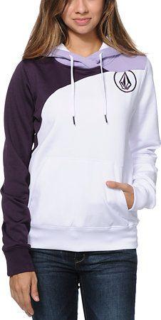 Volcom Girls Aluka White Pullover Hydro Tech Fleece Jacket