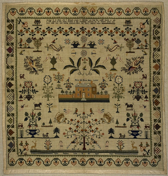 Sampler, by Sophia Stephens, 1830s, Englad. From the collections of the Victoria & Albert Museum.