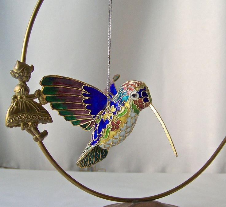 Vintage Cloisonne Hummingbird Ornament Hanging Bird Enamel