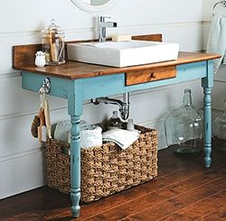 minus 2 legs = more style in the bathroom!