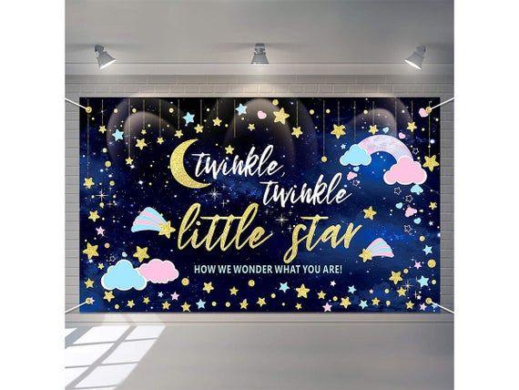 Twinkle Twinkle Little Star Gender Reveal Backdrop Pink Blue Etsy In 2021 Baby Shower Backdrop Banner Backdrop Twinkle Twinkle Little Star