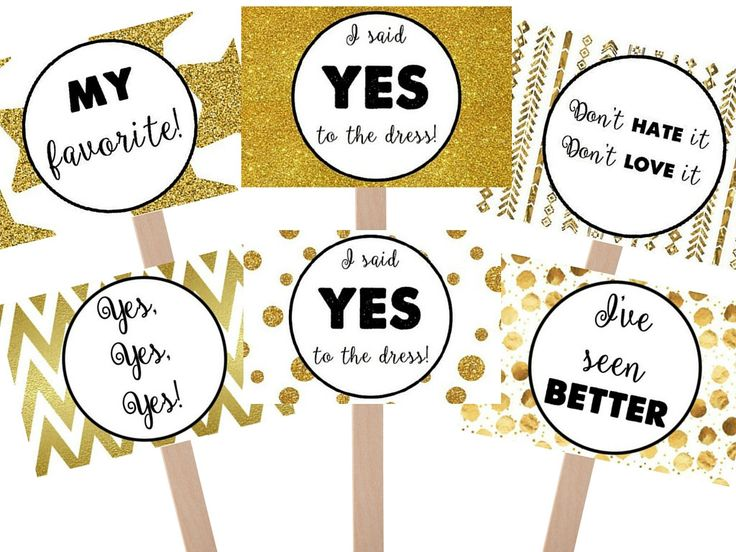 Say Yes To The Dress Black and Gold Favorite Sign and Bride Sign, yes to dress paddle, wedding dress shopping signs by GrandWayPress on Etsy