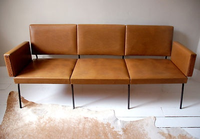 50s, 60s MIDCENTURY MODERN retro vintage antique TAN pu leather ITALIAN SOFA
