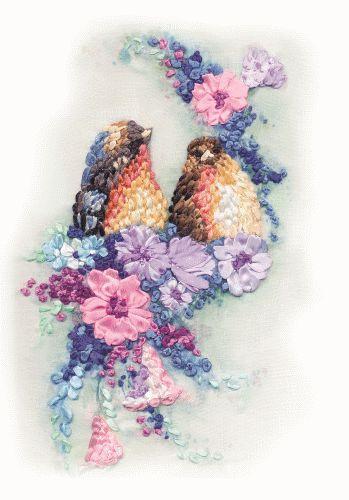 Coricamo - Haft wstążeczkowy, Silk ribbon embroidery, Stužková výšivka, Bändchenstickerei, birds