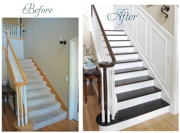 staircase makeover.  soooo many homes could really use this...  who says new homes have to be boring!