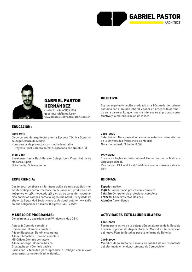 12 best curriculum vitae images on Pinterest | Curriculum, Resume ...