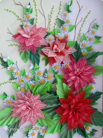 Painting mural drawing Bumagoplastika Paper Paper Quilling Dahlias band photo 2