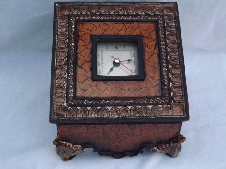 Mediterranean Desk Clock w/Storage Roman Numerals Metal Footed Wood VG | Home & Garden, Home Décor, Clocks | eBay!