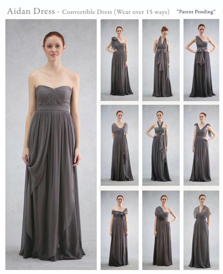 Popular Bridesmaid Dress Long Grey Convertible Chiffon