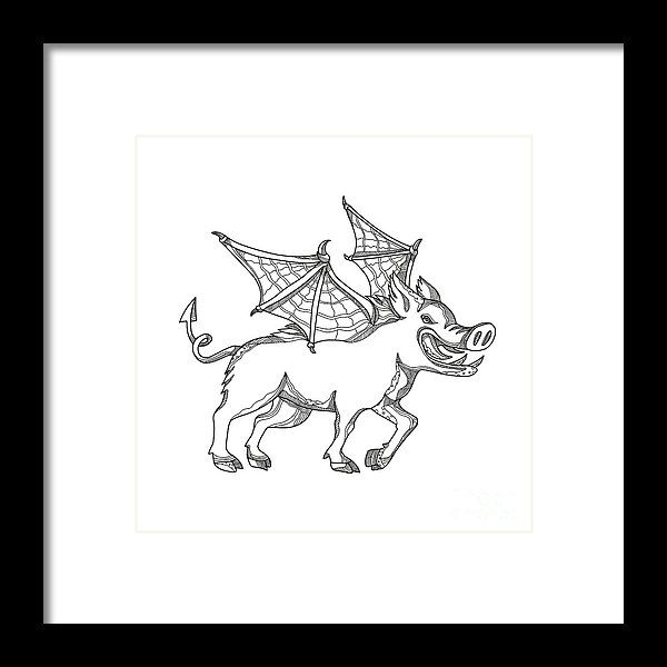 Doodle Framed Print featuring the digital art Winged Wild Boar Doodle Art by Aloysius Patrimonio