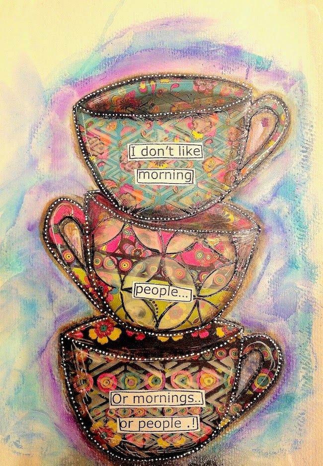 ART JOURNAL PAGE | COFFEE CUPS | Nika In Wonderland Art Journaling and Mixed Media Tutorials..... Love this, although I prefer tea! :)
