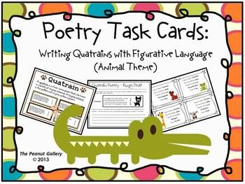 Here's a fun way to incorporate rhyme scheme and figurative language into writing poetry.This set contains Poetry Task Cards for writing quatrains with an animal theme. Each poem includes figurative language and uses a certain rhyme scheme. Definition poster, rough draft, and good copy pages are also included! It makes a perfect center activity! ($)