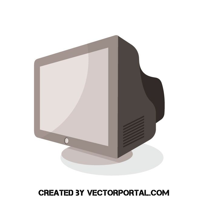 Old Pc Monitor Vector Illustration Computer Vector Vector Illustration Free Vector Illustration