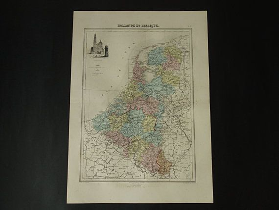 HOLLAND old map LARGE hand colored print 1883 by DecorativePrints