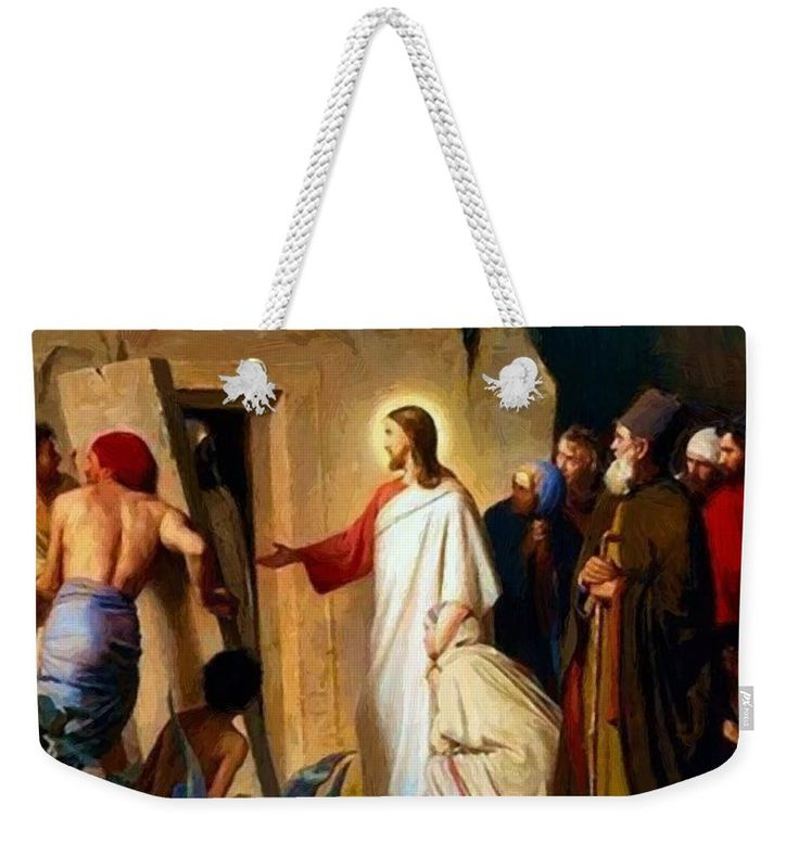 Raising Weekender Tote Bag featuring the painting Raising Of Lazarus 1870 by Bloch Carl