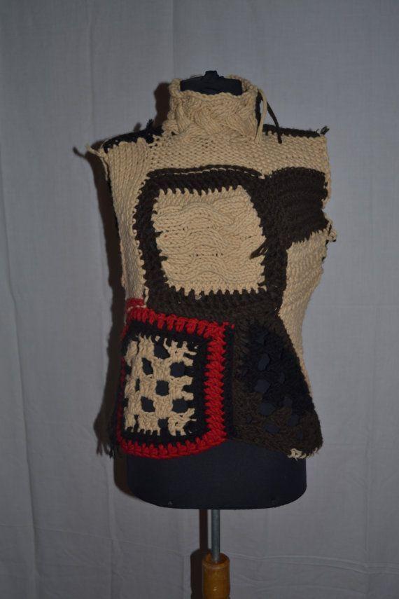 Vest patchwork knitting crochet cardigan style boho wool