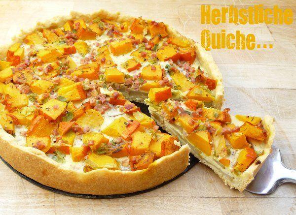 Schöner Tag noch! Food-Blog mit leckeren Rezepten für jeden Tag: Herbstliche Kürbis-Birnen-Quiche mit Speckwürfeln