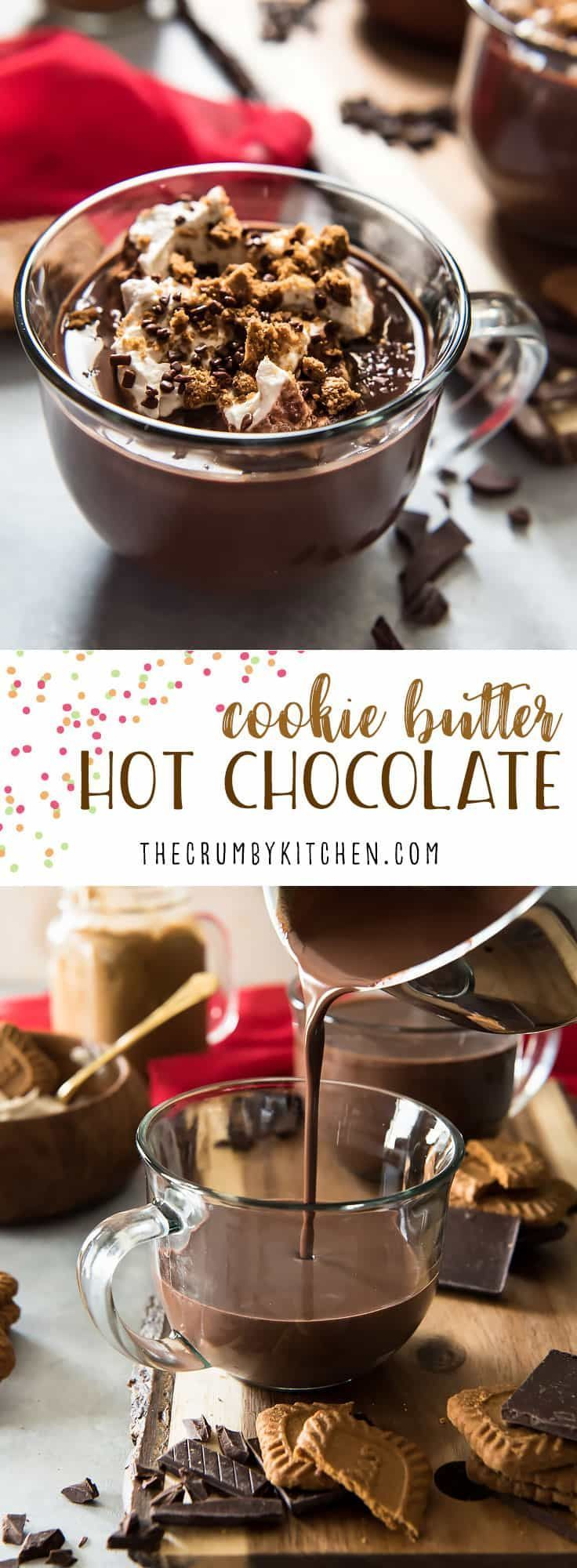 Watch out, sweets lovers - you're about to fall in love with the thickest, richest Cookie Butter Hot Chocolate on the planet! It's perfect for cookie dippin' and just plain sippin', too. #cookiebutter #hotcocoa #recipe #hotchocolate #drink #recipes #winter #fall #chocolatechaud #french #dessert #biscoff #speculoos #chocolate #whippedcream