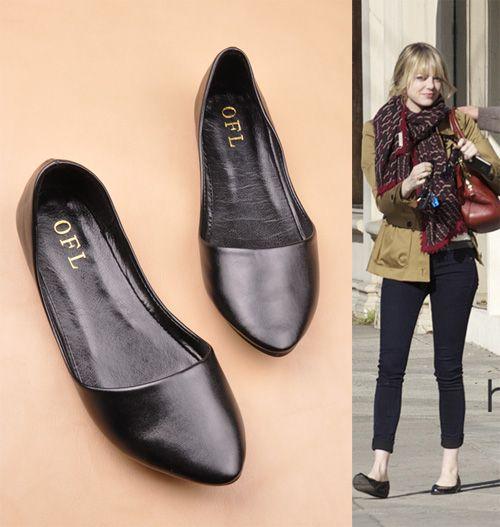 Качество Мода металл острым носом удобные мягкие женщины плоским подошва пятки обувь одного плюс размер женщин обувь из натуральной кожи 668,16