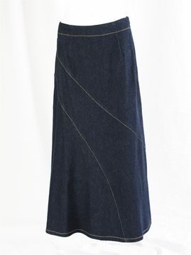 Diagonal Stretch Long Jean Skirt 39