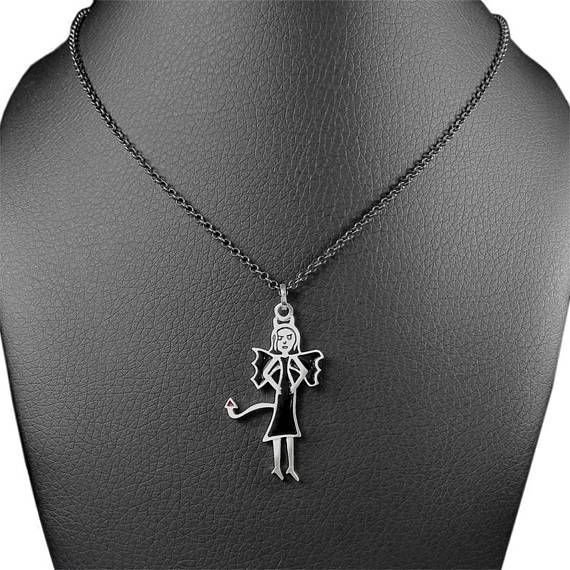 the devil is a woman silver charm necklace she devil charm