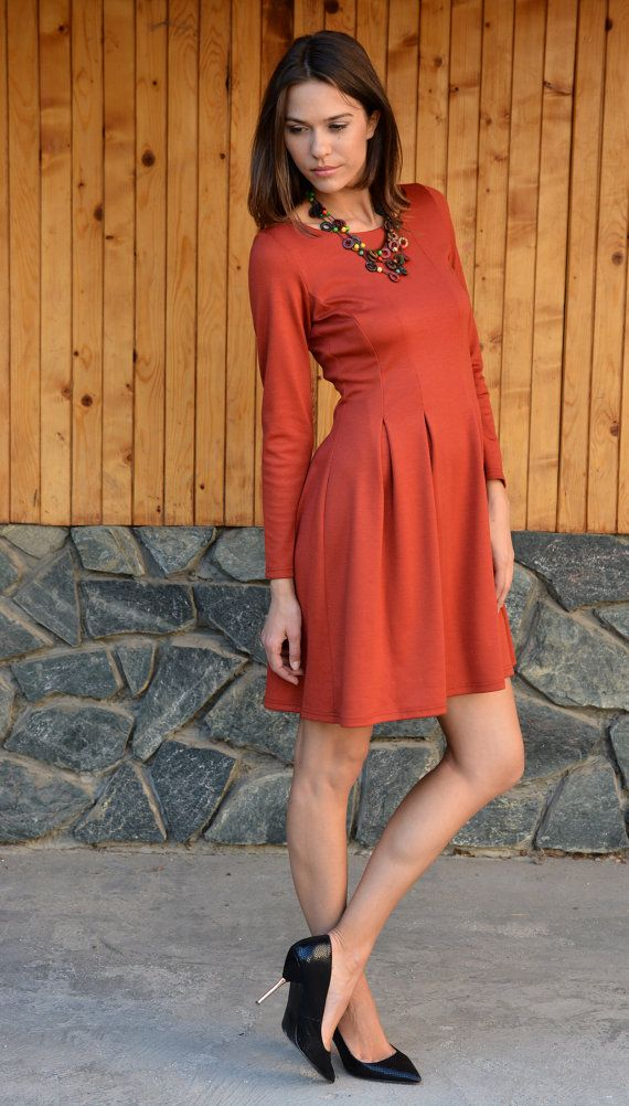 Winter Dress, Stylish Womens Dress, Midi Dress, Long Sleeves Dress, Burnt Orange Casual Dress, Spring Dress, Formal Dress, Danelly D16.16.19