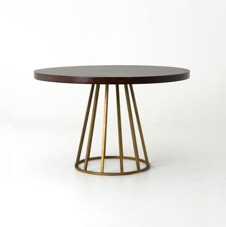 Addison Round Dining Table-This table has a striking brass base, a Chocolate Walnut top and complements the retro vibe of the settee from @westelm