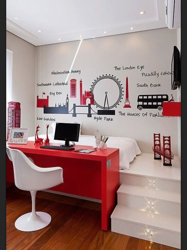 This red, black and white bedroom, is perfect if you have a slightly older child. Stylish and modern, they will love being able to walk up steps to their bed!