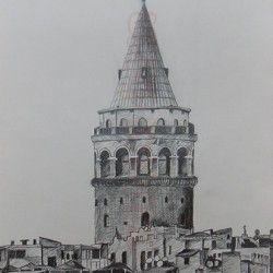 İstanbul Galata Kulesi Karakalem Aşamalı Çizimi (37)