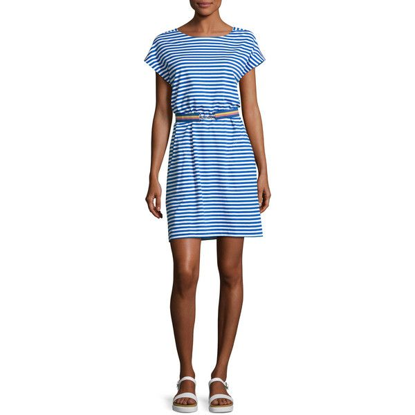 Mih Boater Striped T-Shirt Dress ($230) ❤ liked on Polyvore featuring dresses, blue pattern, nautical striped dresses, t shirt dress, short sleeve dress, stripe dresses and striped t shirt dress