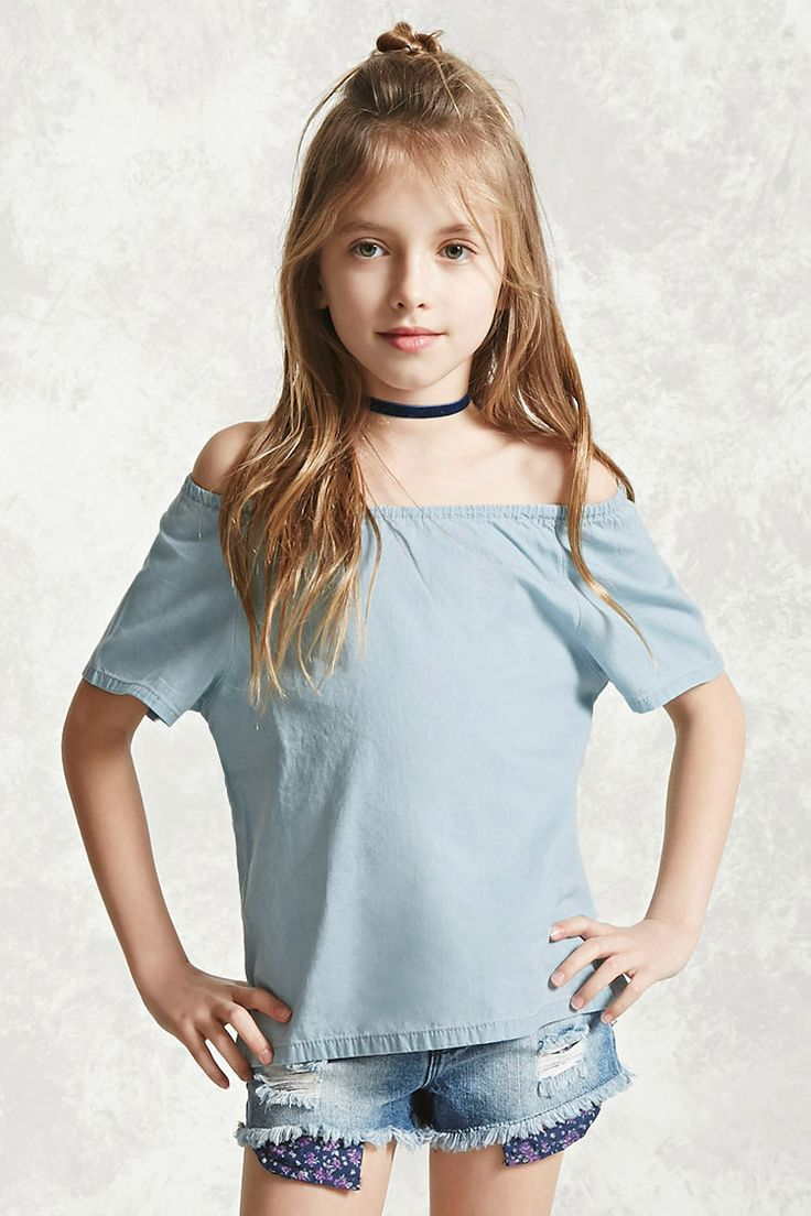 Forever 21 Girls - A chambray top featuring an elasticized ...