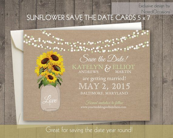 Sunflower Save the Date Cards Rustic Mason Jar Burlap Filled With Sunflowers hanging lights Country digital printable card / postcard files by NotedOccasions