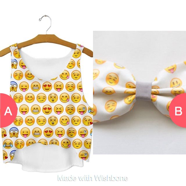 Emoji shirt or emoji bow? Click here to vote @ http://getwishboneapp.com/share/18527139