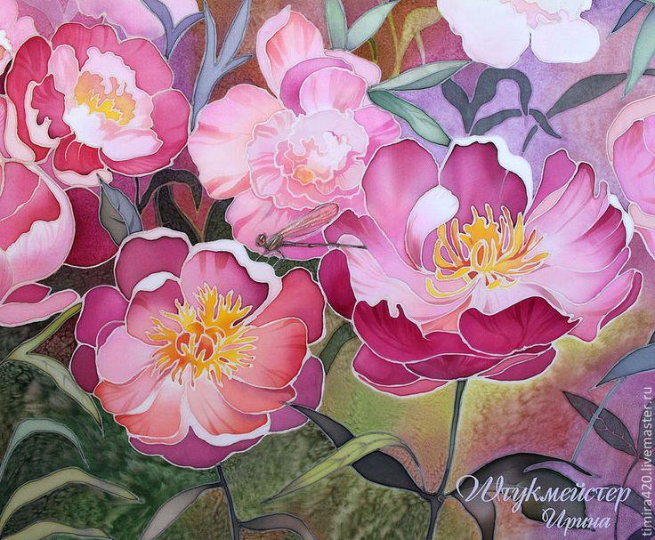 """Купить Батик панно """"Пионовый сад"""". - розовый, пионы, сад, пионовый сад, картина для спальни"""
