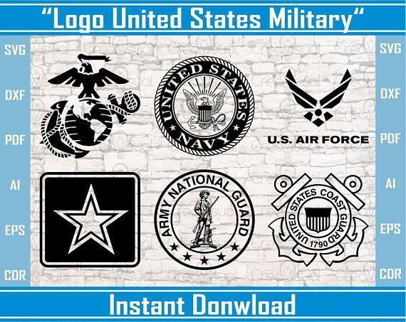 Military Logos Vector Army, Navy, Air Force, Marines