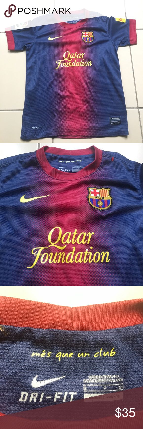 Nike FCB Futbol soccer jersey Messi 10 Small Youth Qatar Foundation Nike soccer jersey youth                   15 inches (pit to pit) 20 inches (length top to bottom)  Good pre owned condition!  No rips or stains!  Please see picture for details.  Size Small youth  If additional pictures are needed feel free to ask. Nike Shirts & Tops Tees - Short Sleeve