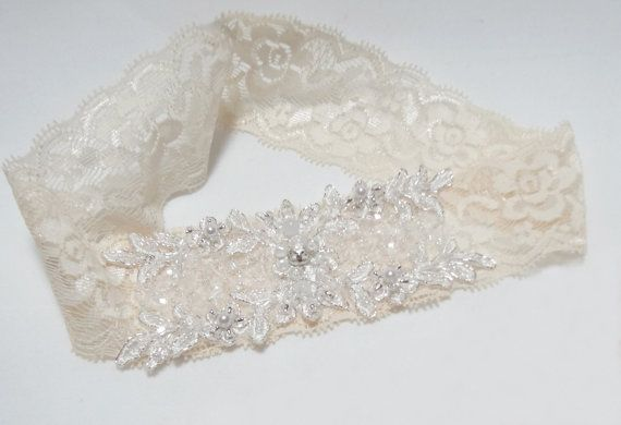 Ivory Lace Garter  glittering applique wedding garter by mirino, $18.00