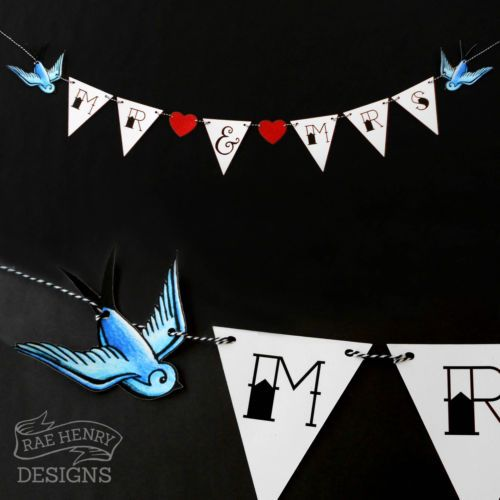 TATTOO WEDDING BUNTING SAILOR JERRY SWALLOWS/SPARROWS MR & MRS ROCKABILLY PUNK | eBay