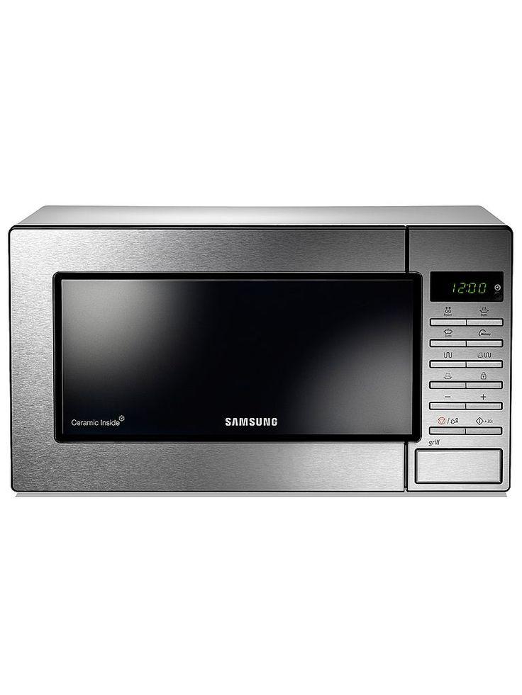 Samsung GE87MC/XEE. Rostfri mikrovågsugn från Samsung med grillfunktion och tre punkter för utsläpp av mikrovågor som gör att värmen sprids jämnt.