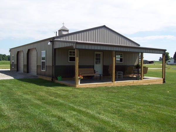 Definitely want a porch on our barn...cedar logs for posts....  steel buildings turned into homes | Metal Roofs & Buildings