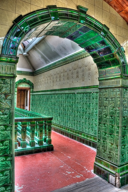 Mens 1st Class Pool Balcony Entrance  - Victoria Baths - Manchester by D.R.Williams, via Flickr