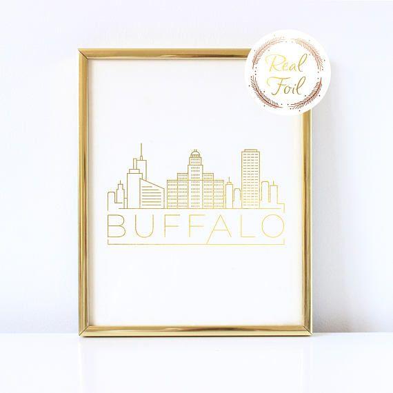 Buffalo NY Gold Foil Print, Buffalo Skyline Print, Buffalo NY Art, Buffalo Modern Art, City Skyline Print, Map Art, Skyline Art