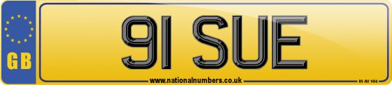 Personalised registration mark 91 SUE. A dateless number plate, suitable for assignment to any roadworthy car, van, heavy goods vehicle, moped or motorcycle.