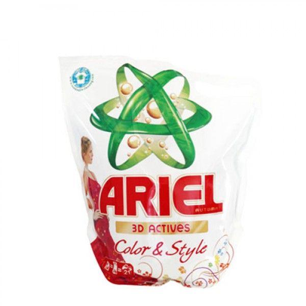 """Ariel 3D Actives Color & Style Vloeibaar wasmiddel 21 Wasbeurten 21 kg  Description: Ariel 3D Actives Color & Style Vloeibaar wasmiddel 21 Wasbeurten 21 kg Ariel 3D Active """"Kleur & Stijl"""" wasmiddel voor bonte was. Dankzij speciale bescherming zal je kleren heldere kleuren behouden voor een langere tijd. Het dringt diep door in de vezels en verwijdert vuil goed. Uw kleding zal fris en zacht aanvoelen. Ariel innovatieve 3D-technologie die werd ontwikkeld met behulp van 3-D effecten bevatten 3D…"""