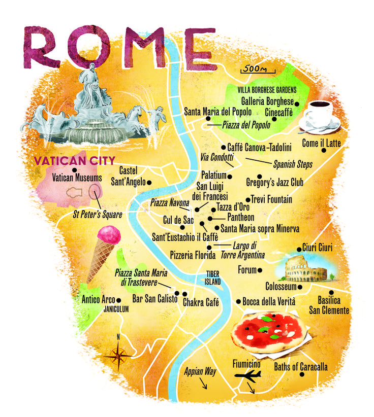 Rome map by Scott Jessop. Sunday Times Travel Magazine July 2014 issue