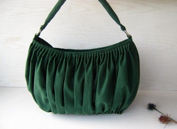 Canvas Pleated Bag / Shoulder Bag / Bella in Emerald Green / Large /  Drapery / Chic / Elegant / Everyday Purse / Zipper Closure / weekender